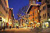 Kitzbuehel on an evening in winter, Tyrol, Austria