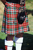 Close up of a kilt, Highland Games, Scotland, Great Britain, Europe