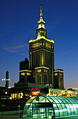 The illuminated Palace of Culture and Science at night, Warsaw, Poland, Europe
