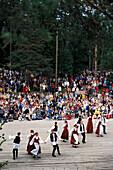 Johannis dancers in traditional costumes at Midsummer festival, Seurasaari Island, Helsinki, Finland, Europe