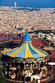 Merry Go Round Barcelona, View to Barcelona to overlooking Observatori Fabri, Tibidabo funfare ferries wheel, Barcelona, Spain