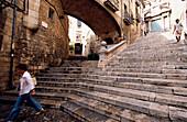 Stairs Jewish Quarter Girona, Stairs in old Jewish Quarter, El Call, Girona, Costa Brava, Catalonia, Spain
