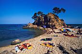 Beach Cliff Costa Brava, Beach, Cap Roig, near Platja d«Aro, Costa Brava, Catalonia, Spain