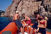 Rubberboat Children Excursion, Boat trip, Llafranc, Costa Brava, Catalonia, Spain