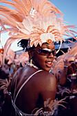 Woman in Carneval costume at Mardi Gras, Port of Spain, Trinidad and Tobago, Caribbean