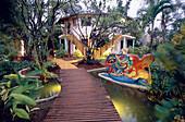 Coyamar Hotel with a nice tropic garden and pond, Playa Bonito in Las Galeras, Samana Peninsula, Dominican Republic, Caribbean