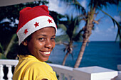 Waitress, Hat, Costume, Girl, Waitress with christmas hat at the pool of Hotel Gran Bahia, Samana, Samana Peninsula, Dominican Republic