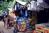 Souvenir shops Huts and bars on Sosua Beach, Dominican Republic, Caribbean