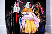 Three women in traditional dress, Folklore, Tanz, Sant Miquel, Ibiza, Balearic Islands, Spain