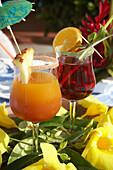 Planters Punch, Drinks, Cocktails, Hotel La Cocoteraie, Le Meridien, Saint-Francois, Guadeloupe, West Indies