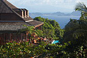 Panoramic View from Hotel Le Jardin Malanga, Trois Rivieres, Basse-Terre, Guadeloupe, Caribbean Sea, America