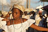 Girl, Dancing, Turning, Carnival, Le Moule, Girl dancing at the Carnival, Grande-Terre, Guadeloupe, Caribbean Sea, America