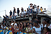 Watching, Roof, Street, Audience, Carnival, Audience at carnival in Le Moule, Carribbean Sea, America