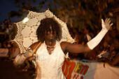 Transvestite, Umbrella, Beauty, Dancing, Transvestite with umbrella is dancing at the Carnival, Le Moule, Grande-Terre, Guadeloupe, Caribbean Sea, America