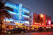 The illuminated Colony hotel at night, Ocean Drive, South Beach, Miami, Florida, USA, America