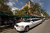 Stretched limousine is passing on Ocean Drive, South Beach, Miami, Florida, USA, America
