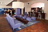 Lilac seats at the lobby of the Clinton hotel, South Beach, Miami, Florida, USA, America