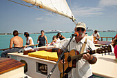 Musician, Schooner sailing trip, Key West, Florida Keys, Florida, USA