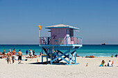 Sandy beach, the Art Deco style, lifeguard tower, South Beach, Miami, Florida, USA