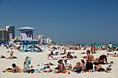 Saandy beach, the Art Deco style, lifeguard tower, South Beach, Miami, Florida, USA