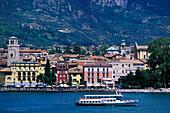 View on Trentino from lake, Excursion boat, Lake Garda, Trentino, Italy