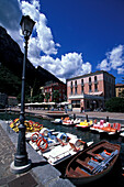 Lantern and pedal boats, Harbor promenade, Lake Garda, Trentino,  Italy