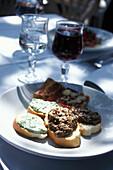 Vorspeise, Crostini, Italienische Küche, Toscana, Italien