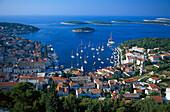 View over Hvar on the sea, Island Hvar, Dalmatia, Croatia