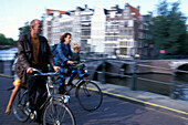 Bicycle trip, Prinsengracht (Prince's Canal), Amsterdam-Centrum, Amsterdam, Holland, Netherlands