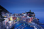 Vernazza in the evening, view from above, Cinque Terre, Liguria, Italia