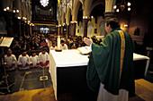 Sunday mass, interior design of a church, Charleville, Cork county, Ireland