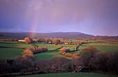 Idyllic landscape with rainbow, West Dartmoor, Devon, England, Great Britain, Europe