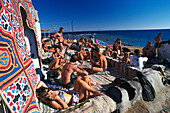 People sunbathing, Dahab, Sinai, Egypt