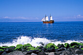 Historic sailing ship, Boat Trip, Playa de Masca, Tenerife, Canary Islands, Spain