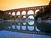 Roman aqueduct above Gardon River, Pont du Gard, near Avignon, Gard département, Provence, France