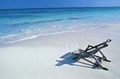 Deck chair on the beach in the Carribean sun, Carribean coast south of Tulum, Quintana Roo, Yucatán Peninsula, Mexico