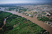 Aerial view of Rio Parana river and suburbs of Buenos Aires, Argentina, South America, America