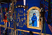 Tuareg Mohamed Jallali in his store, Reflection in the mirror, Essaouira, Marocco