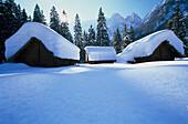 Snow covered stone age village, Bodental, Carinthia, Austria