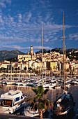 Sailing boats at harbour, Menton, Cote d´Azur, Alpes Maritimes, Provence, France, Europe