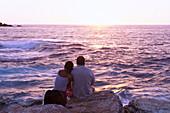Couple at the beach, seaside, sunset, Centuri-Port, Cap Corse, Corsica, France