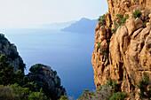 Rocks and coastline, Les Calanche, west coast of Corsica, near Porto, France