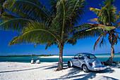 VW Beetle on the beach near Boca Paila, Quintana Roo, Yucatan, Mexico