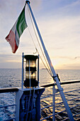 Italian flag on ferry boat between Livorno, Italy and Corsica, France, Mediterranean Sea, Italy