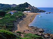 Coastal landscape and bay, Cala Pregonda, Minorca, Spain