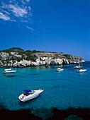 Coastal landscape and bay, Cala Macarella, Minorca, Spain