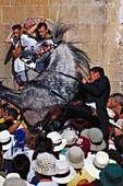 Traditional horse dance of the Menorcan horses, Jaleo, Ciutadella, Minorca, Spain