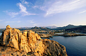 Genoese tower on the rock above L'lle Rousse, coast of Corsica, France