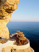 Cova d'es Xoroi, Cave and terace at the steep coast, Bar, Disco, Cala en Porter, Menorca, Minorca, Balearic Islands, Spain