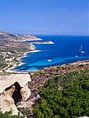 Coastline, sailing ship, Calvi, Corsica, France